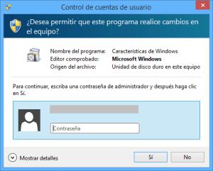 Proporcionar permisos de administrador para activar o desactivar las características de Windows