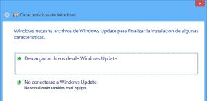 Activación de .Net Framework 3.5: descargar archivos desde Windows Update
