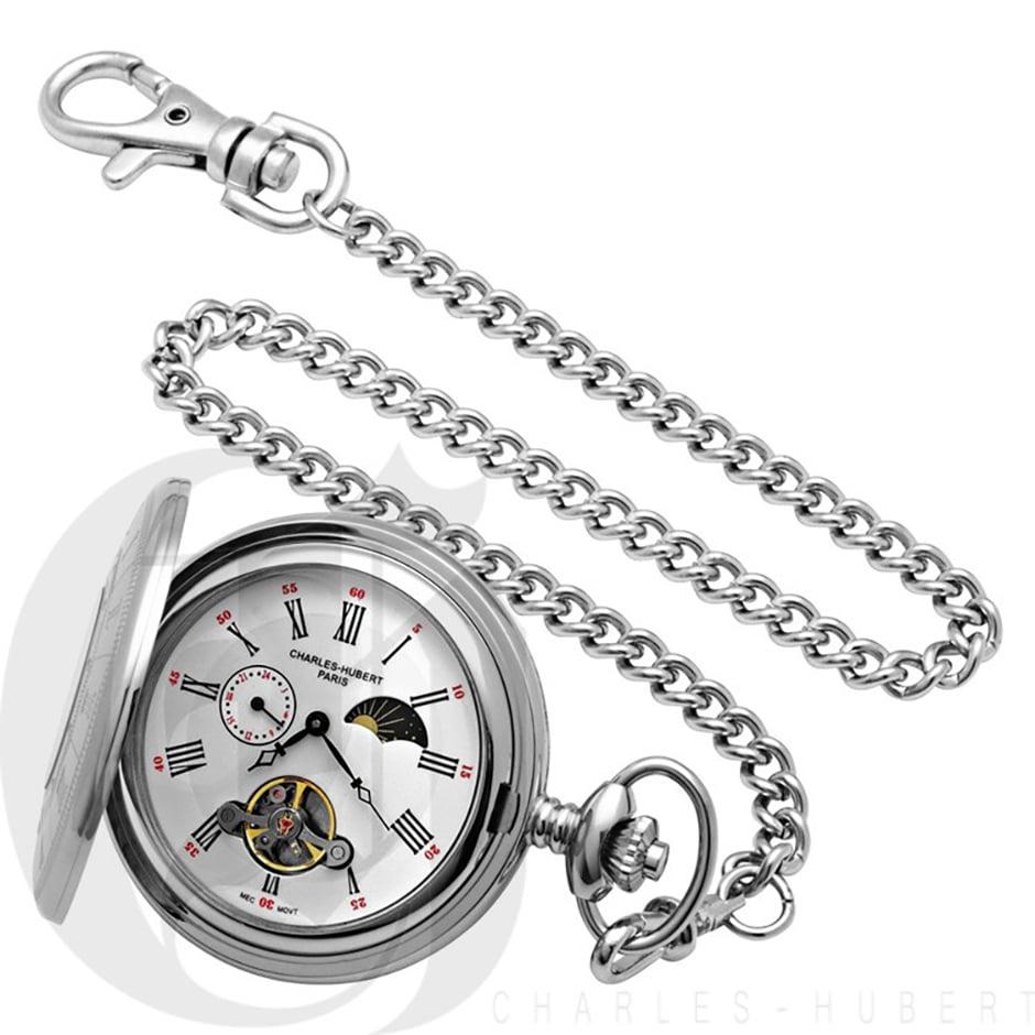 Charles-Hubert Paris 3565 Stainless Steel Pocket Watch