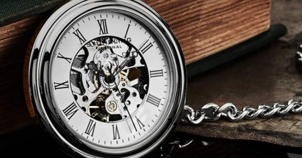Stührling Vintage 6053 Hand-wind 47mm Skeleton Pocket Watch for Men