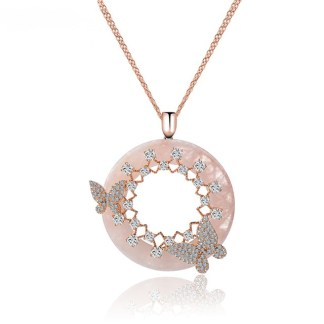 ESQUEL-17898-Big-Round-Pink-Cream-CZ-Pendant-with-Mirco-Double-Butterfly-Necklace