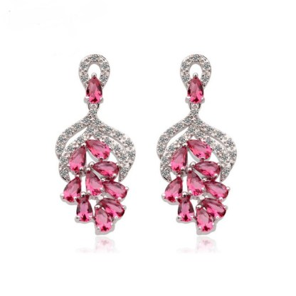 Simulated-diamonds-White-Gold-Red-Grape-Shape-Party-Earrings-17417