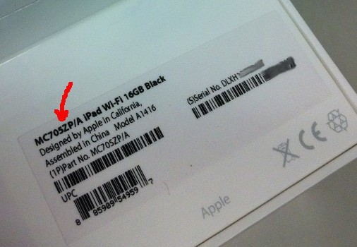 iPad 3 model number label