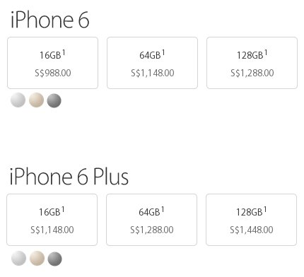 iPhone 6 price table Singapore