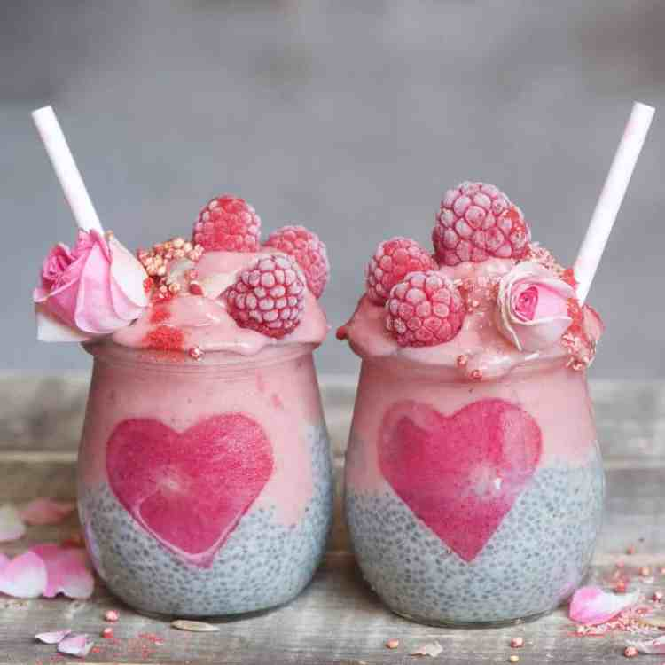Raspberry smoothie layered Chia pudding jars