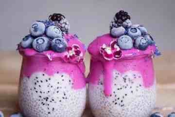 pink dragon fruit layered chia pudding