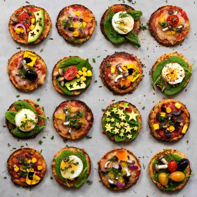 cauliflower mini pizzas with vegetables and quails eggs