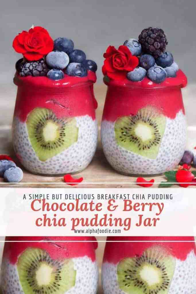 chocolate berry chia pudding with smoothie