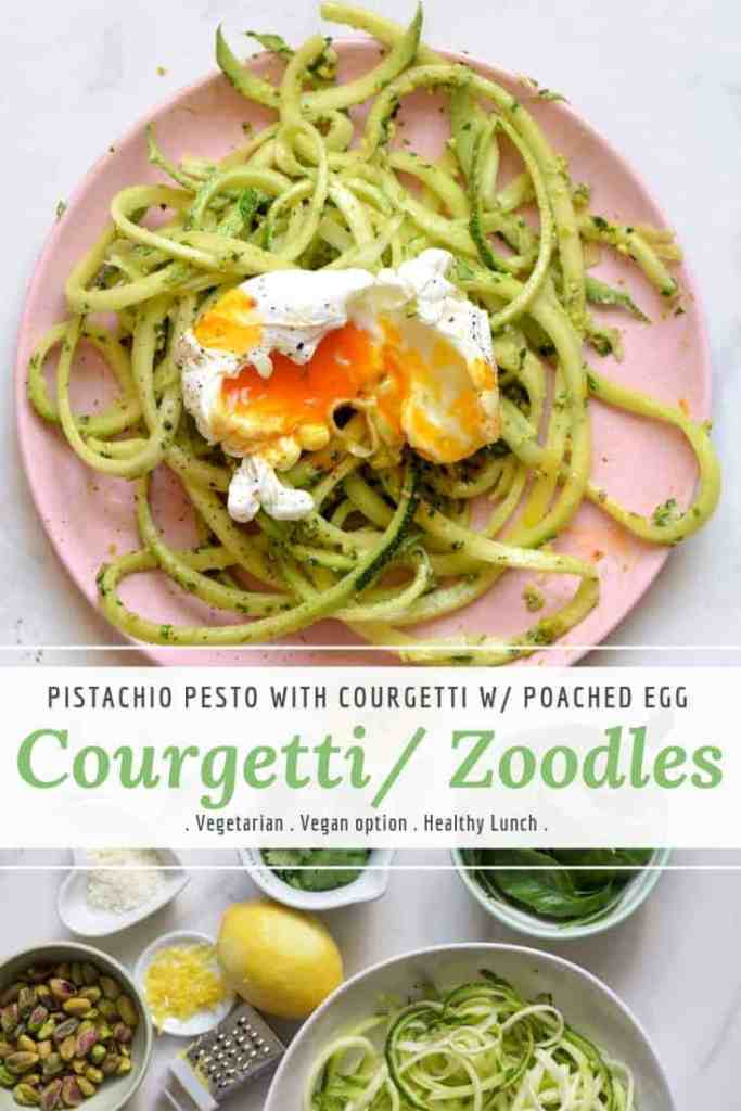 courgetti zoodles with pistachio pesto and poached egg