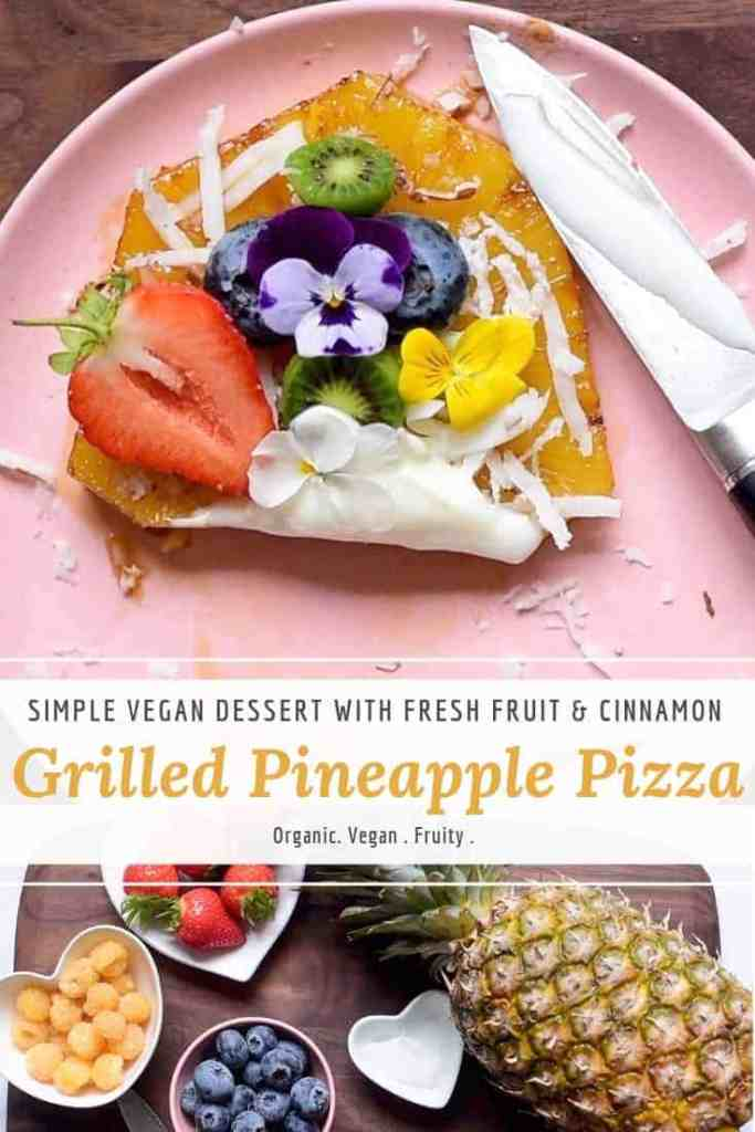 pineapple pizza slice with fresh fruit. healhty and fruity sweet treat. grilled pineapple