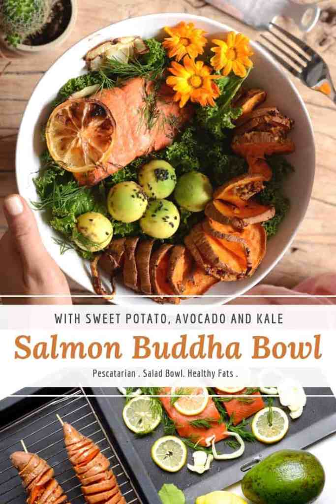salmon buddha bowl with sweet potato, kale & avocado.