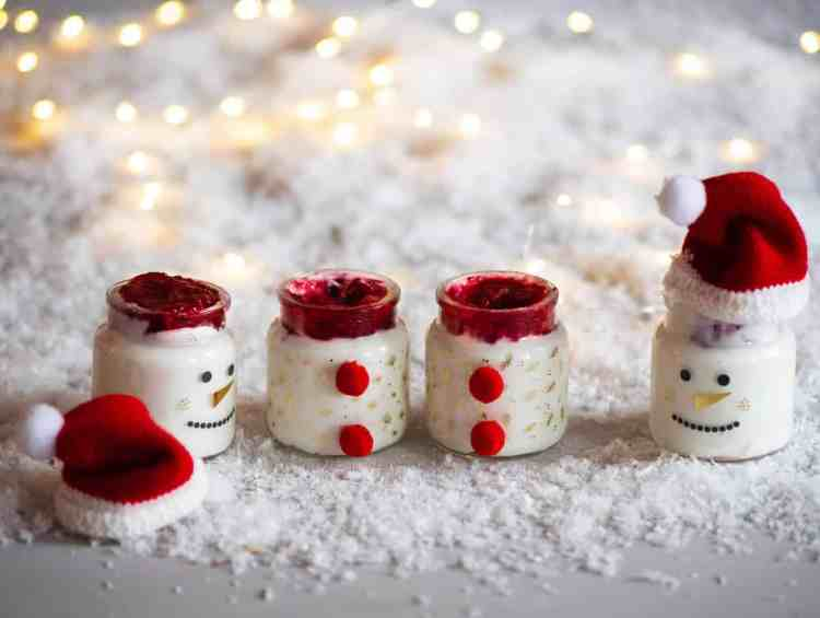 santa pots with homemade coconut yogurt and cranberry sauce