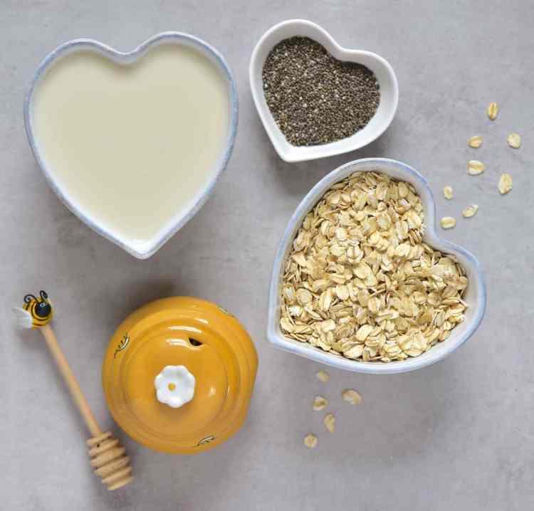 Overnight oats ingredients - oats, chia seeds, milk, honey
