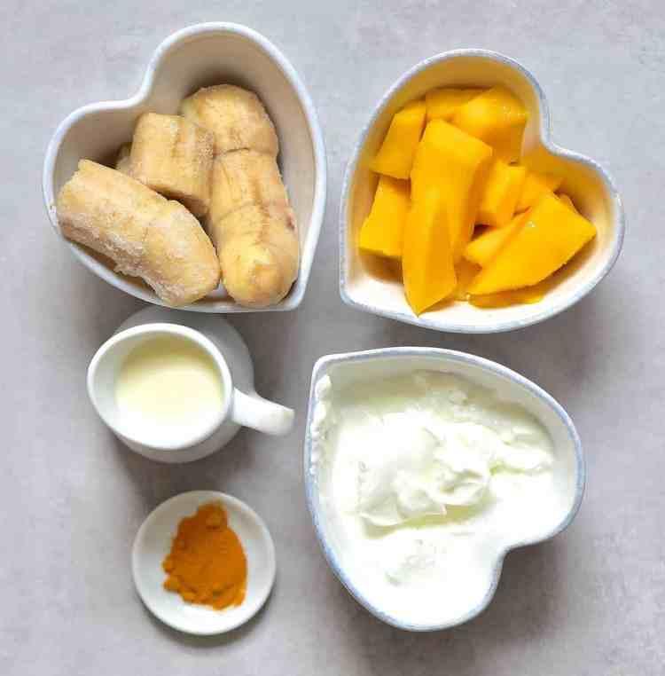 Mango turmeric smoothie ingredients