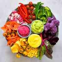 Hummus 3 ways - Rainbow Veggie Platter