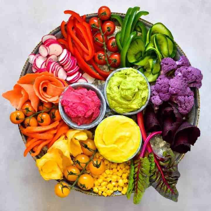 Hummus 6 ways - Rainbow Veggie Spread
