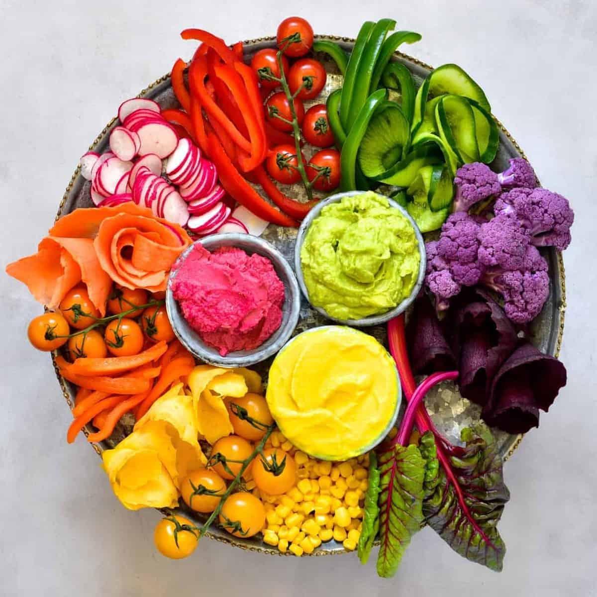 Groovy Rainbow Hummus 3 Ways With A Rainbow Vegetable Platter Beutiful Home Inspiration Aditmahrainfo