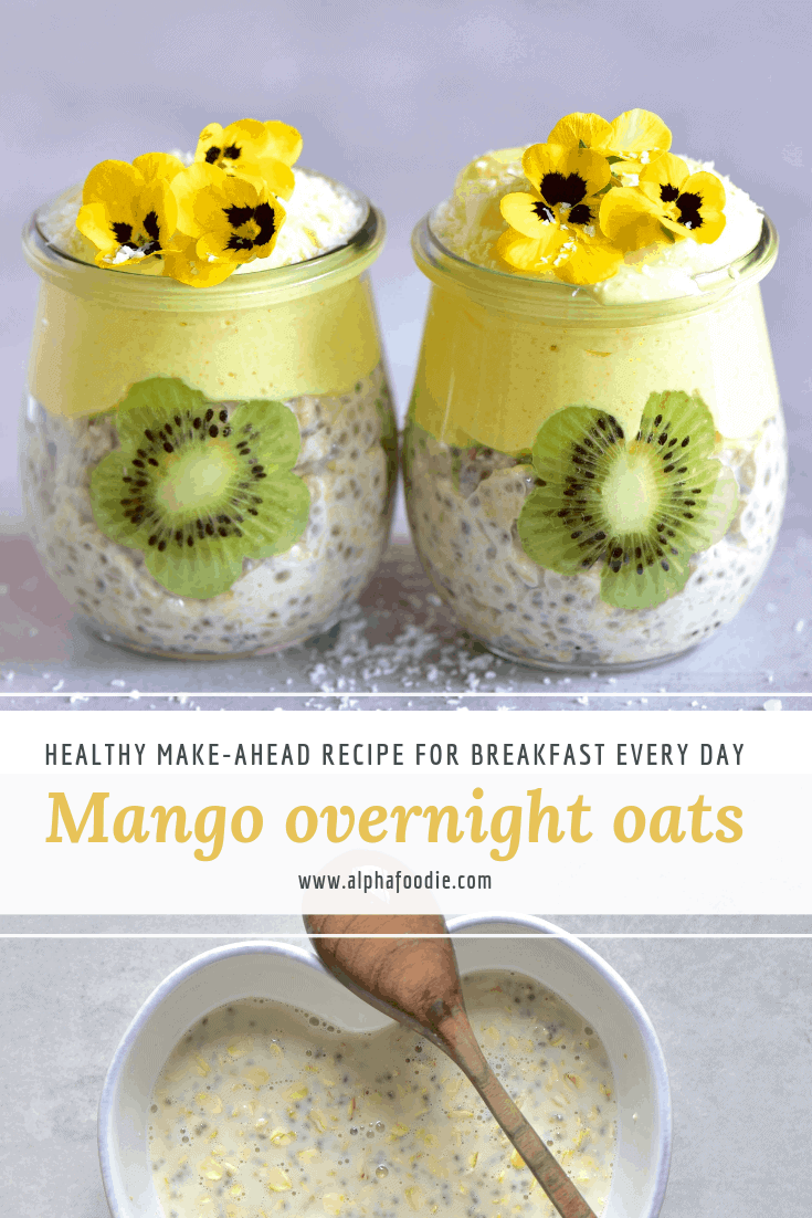 Mango overnight oats. make-ahead, meal-prep