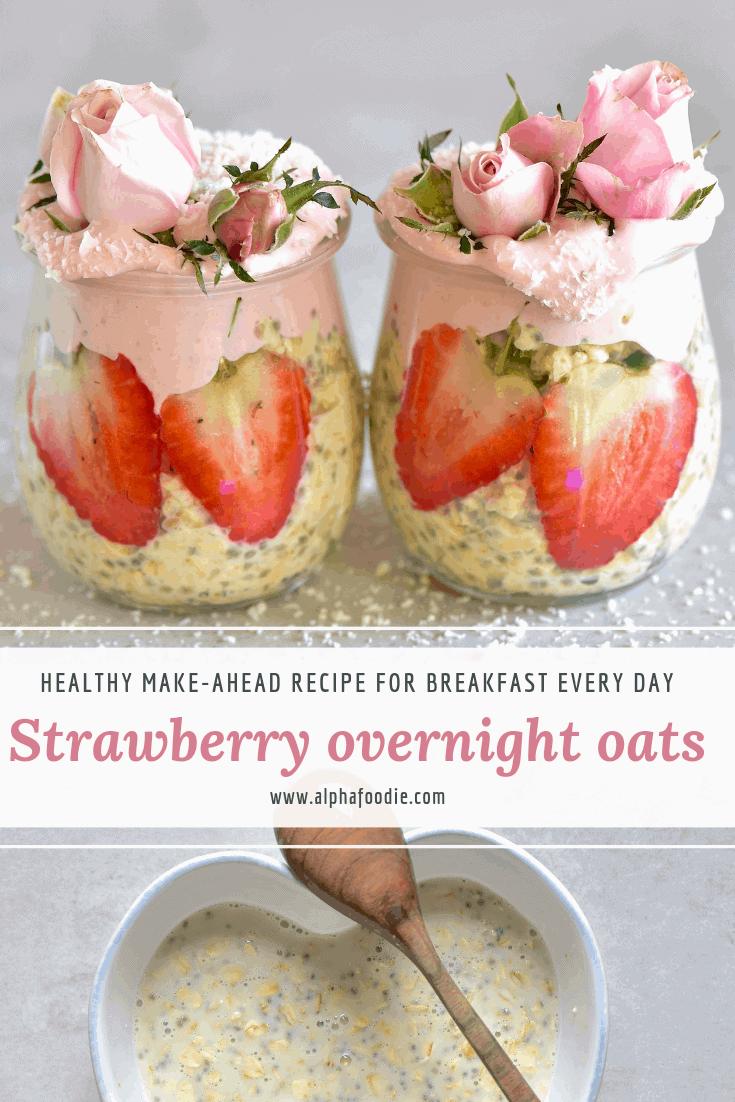 Strawberry overnight oats with strawberry yogurt. make-ahead