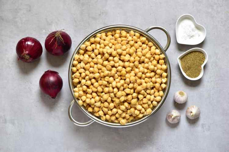 Ingredients for making vegan falafels