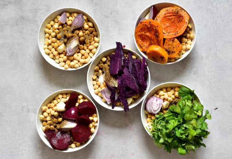 Ingredients for making rainbow coloured vegan falafels for a mezze platter