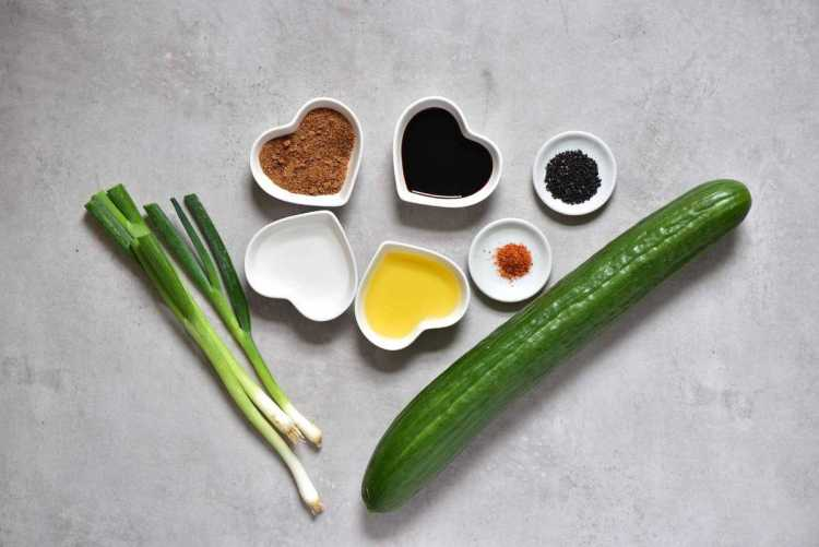 Ingredients for cucumber sesame salad for vegetarian bibimbap