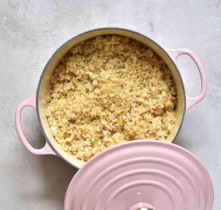 Freshly made fluffy short grain brown rice