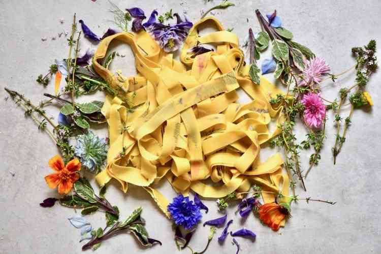 homemade pappardelle floral pasta with basil pesto - simple homemade pasta
