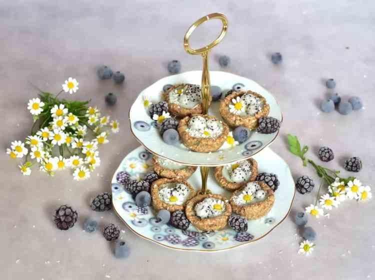 mint bite-sized mini vegan tarts on alphafoodie royal albert tea set for vegan afternoon tea