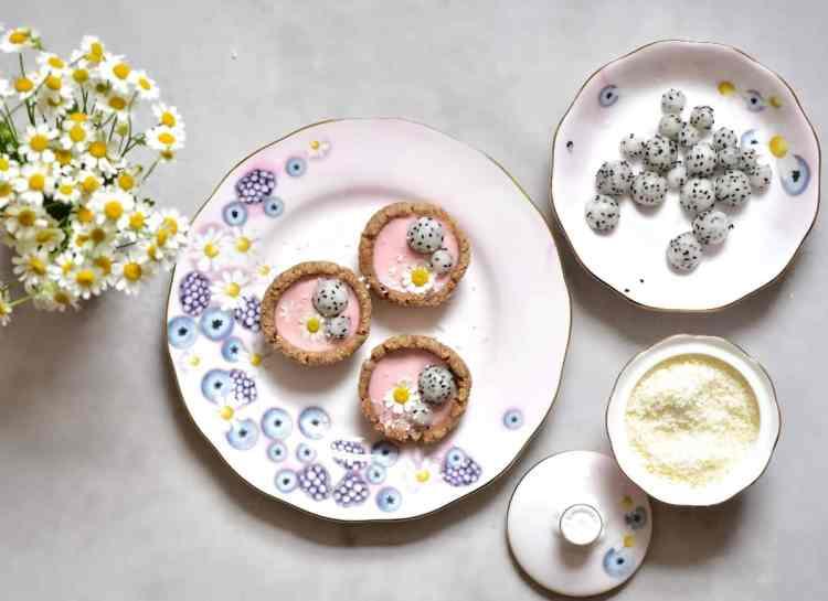 raspberry-rose bite-sized mini vegan tarts on Alphafoodie X Royal Albert tea set