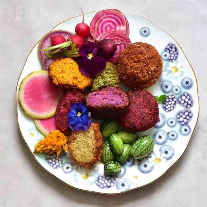 Easy Rainbow Vegan Falafels 5-ways