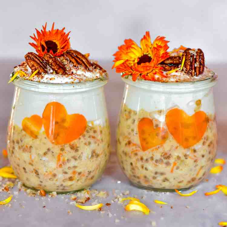 healthy dessert inspired carrot cake overnight oats