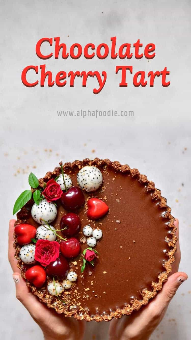 refined sugar free Vegan chocolate cherry ' black forest' tart