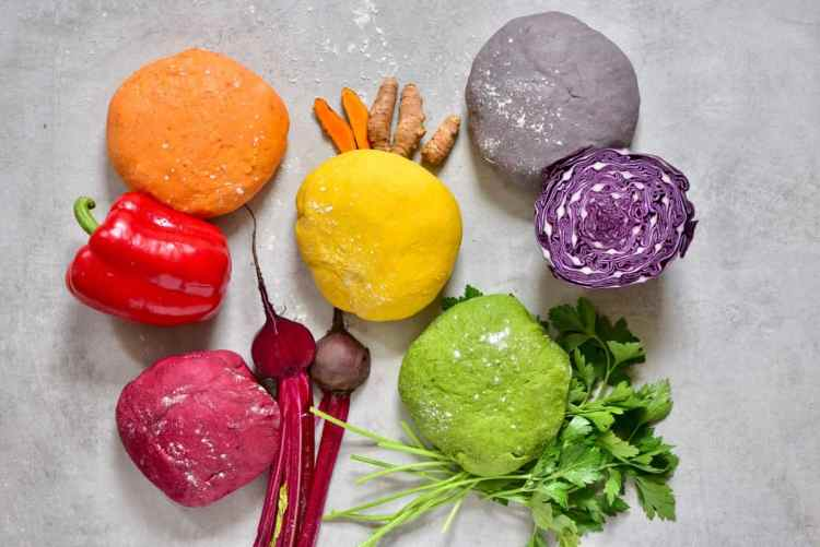 All-Natural Homemade rainbow Pasta dough