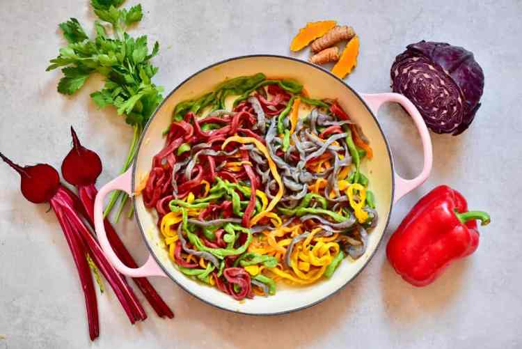 All-Natural Homemade Rainbow Pasta