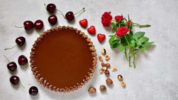 Vegan Chocolate Cherry 'Black Forest' Tart. refined sugar free, dairy-free