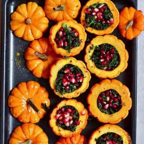Pumpkin quinoa and kale salad