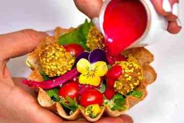 falafel popcorn cup rainbow vegan food