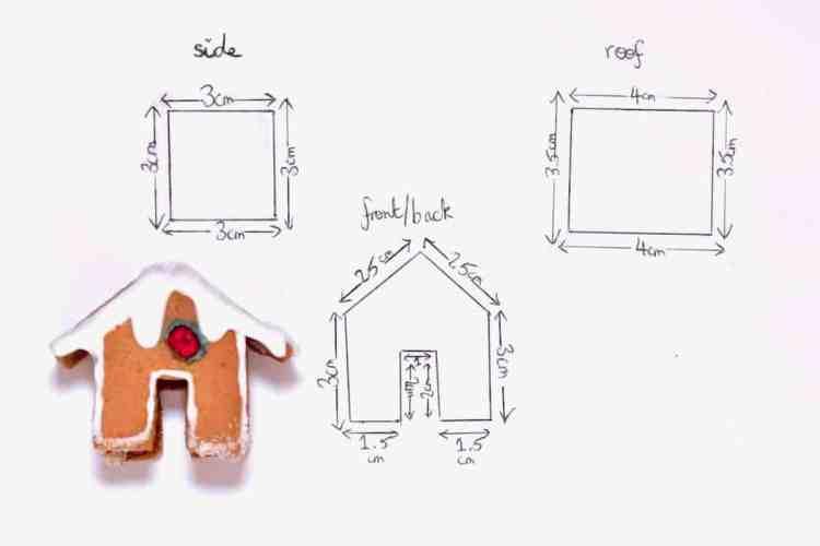 mini gingerbread house template for a mug topper