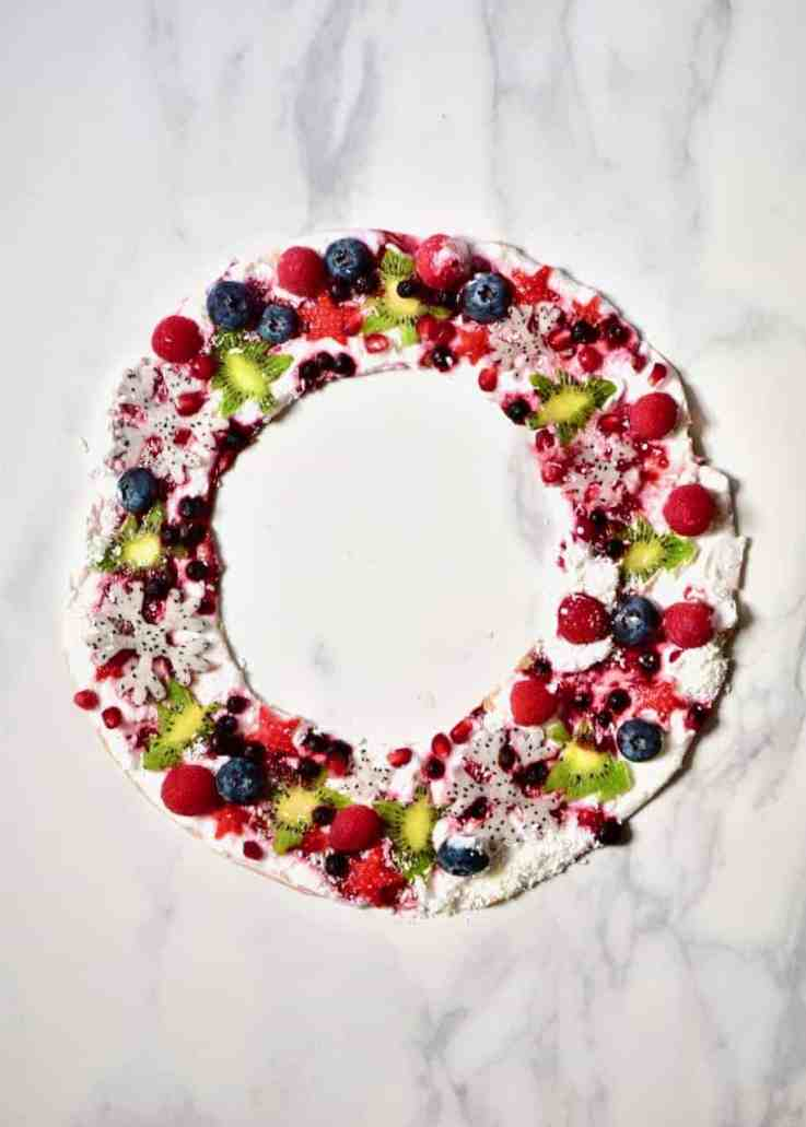 frozen coconut yogurt wreath . healthy christmas snack