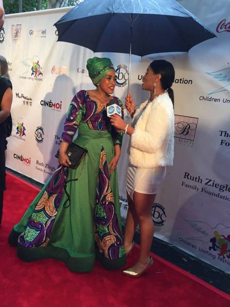 Fashion Designer Linda Bezuidenhout being interviewed on the red carpet as she arrived at the 16th ANNUAL OSCAR VIEWING PARTY AND AWARDS GALA TO BENEFIT CHILDREN UNITING NATIONS IN BEVERLY HILLS , CA