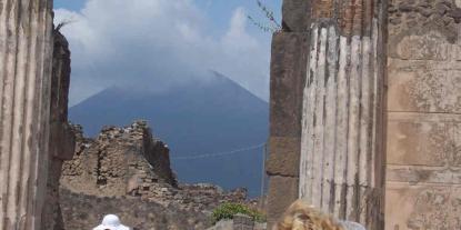 In Pompeii looking at Mt Vesuvius