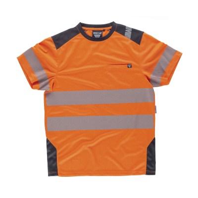 T-shirt manica corta combinata con alta visibilità colore arancione