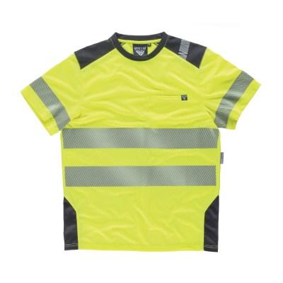 T-shirt manica corta combinata con alta visibilità colore giallo