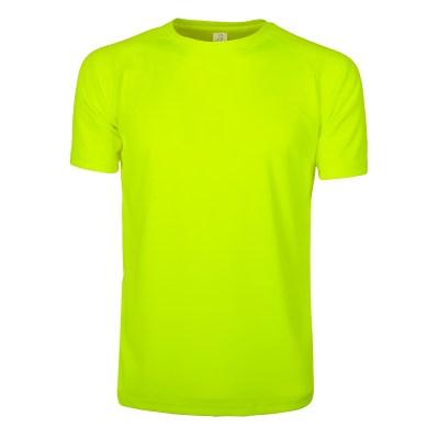 T-shirt maniche corte raglan lavoro uomo colore giallo fluo