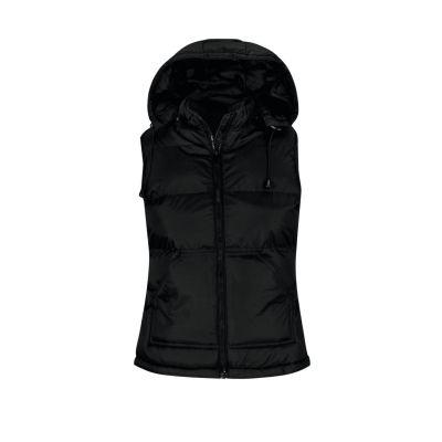 Gilet impermeabile con cappuccio rimovibile lavoro donna colore nero