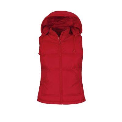 Gilet impermeabile con cappuccio rimovibile lavoro donna colore rosso