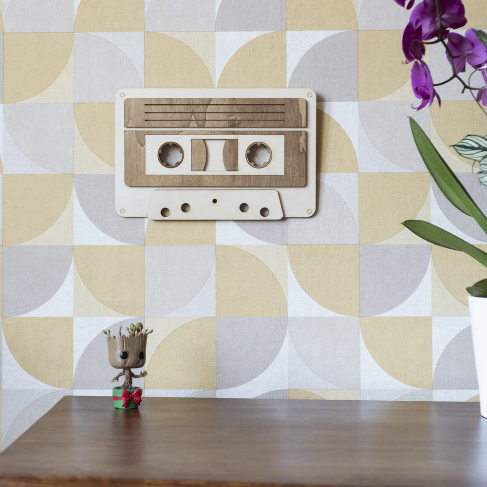 décoration murale intérieur cassette audio musique 90's 80's bois