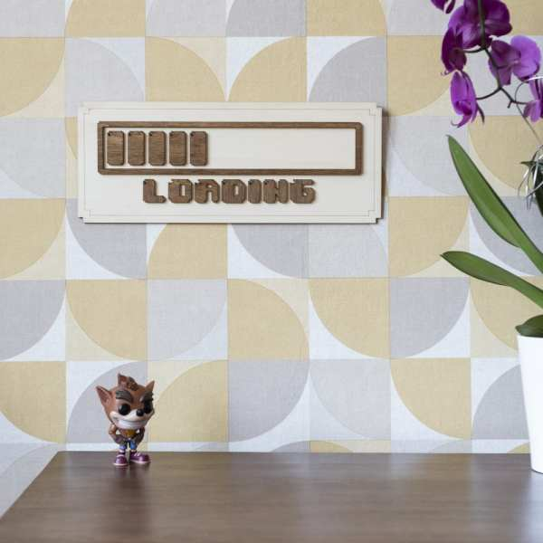 décoration murale intérieur vintage bois retro gaming loading pixel