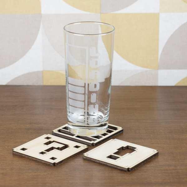 vaisselle décoration retro gaming sous verres consoles pixel jeux videos